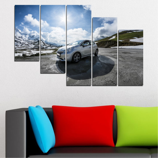 Canvas prints & wall decorative panels - 5 pieces №0531 » Black, Gray, Dark grey » Sun, Car, Vehicle, Road Form #7