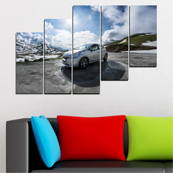 Canvas prints & wall decorative panels - 5 pieces №0531 » Black, Gray, Dark grey » Sun, Car, Vehicle, Road Form #8