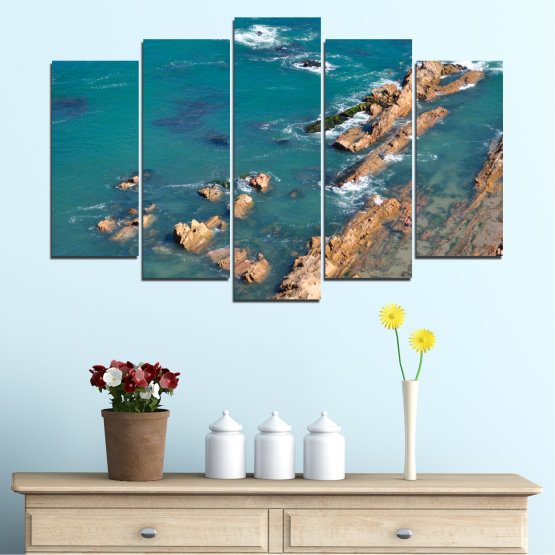 Canvas prints & wall decorative panels - 5 pieces №0533 » Blue, Brown, Gray, Dark grey » Water, Sea, Rocks Form #1