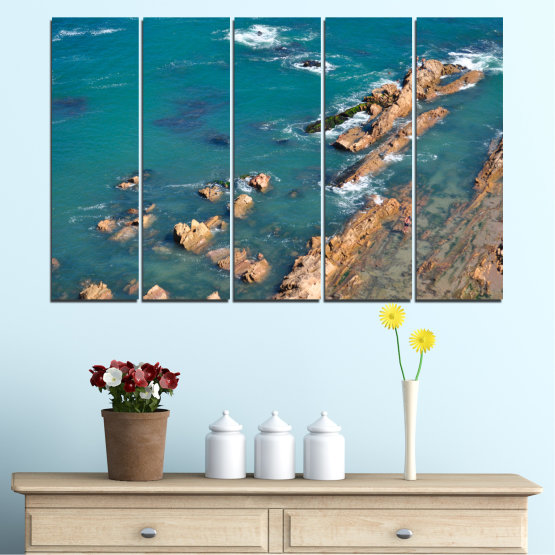 Canvas prints & wall decorative panels - 5 pieces №0533 » Blue, Brown, Gray, Dark grey » Water, Sea, Rocks Form #2