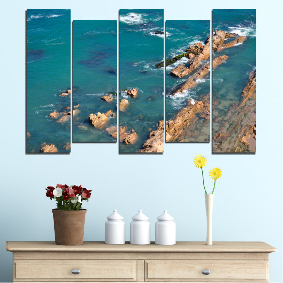Canvas prints & wall decorative panels - 5 pieces №0533 » Blue, Brown, Gray, Dark grey » Water, Sea, Rocks Form #3