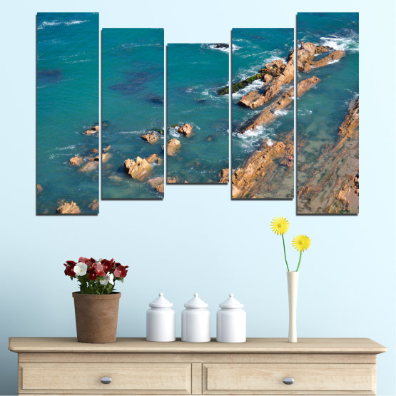 Canvas prints & wall decorative panels - 5 pieces №0533 » Blue, Brown, Gray, Dark grey » Water, Sea, Rocks Form #4