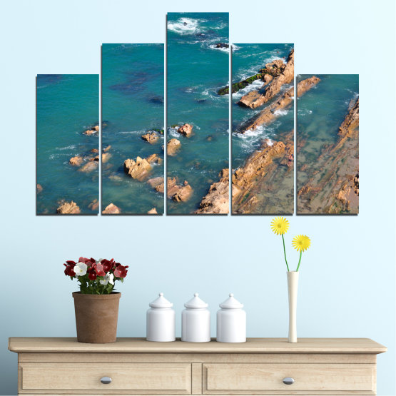 Canvas prints & wall decorative panels - 5 pieces №0533 » Blue, Brown, Gray, Dark grey » Water, Sea, Rocks Form #5