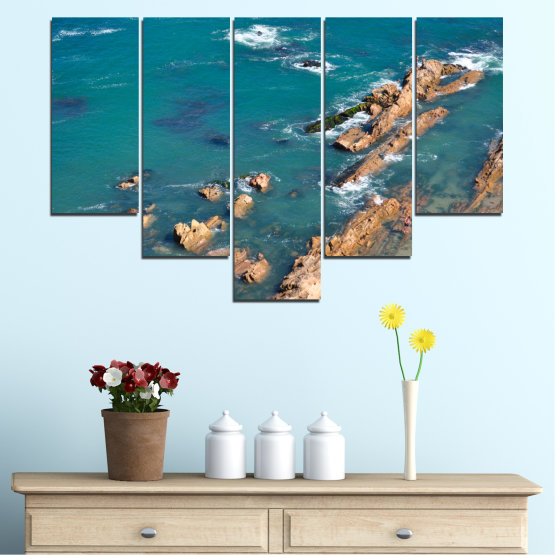 Canvas prints & wall decorative panels - 5 pieces №0533 » Blue, Brown, Gray, Dark grey » Water, Sea, Rocks Form #6
