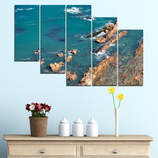 Canvas prints & wall decorative panels - 5 pieces №0533 » Blue, Brown, Gray, Dark grey » Water, Sea, Rocks Form #7