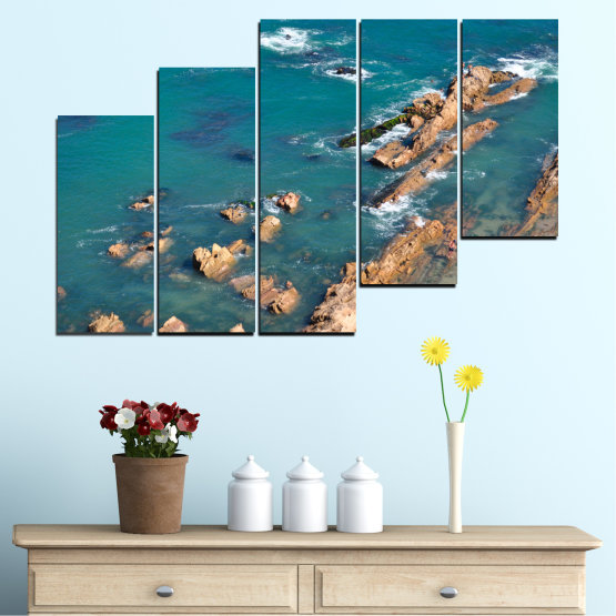 Canvas prints & wall decorative panels - 5 pieces №0533 » Blue, Brown, Gray, Dark grey » Water, Sea, Rocks Form #8