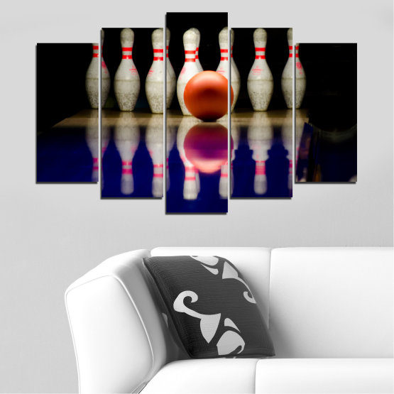 Canvas prints & wall decorative panels - 5 pieces №0534 » Brown, Black, Gray, Dark grey » Reflection, Sport, Ball, Bowling Form #1