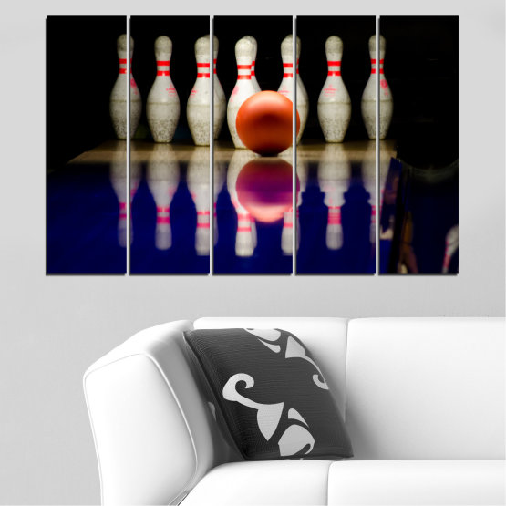 Canvas prints & wall decorative panels - 5 pieces №0534 » Brown, Black, Gray, Dark grey » Reflection, Sport, Ball, Bowling Form #2