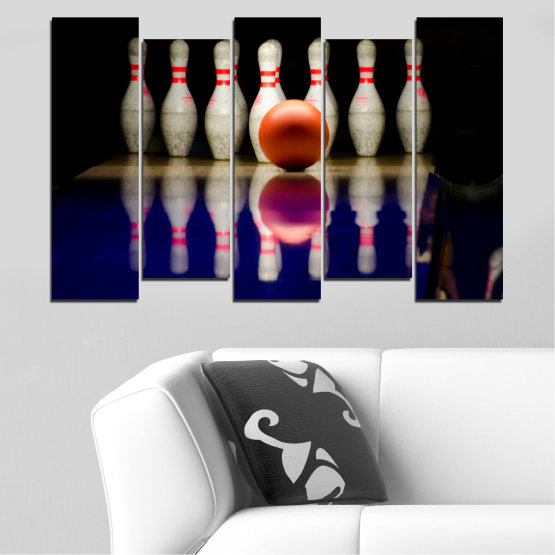 Canvas prints & wall decorative panels - 5 pieces №0534 » Brown, Black, Gray, Dark grey » Reflection, Sport, Ball, Bowling Form #3