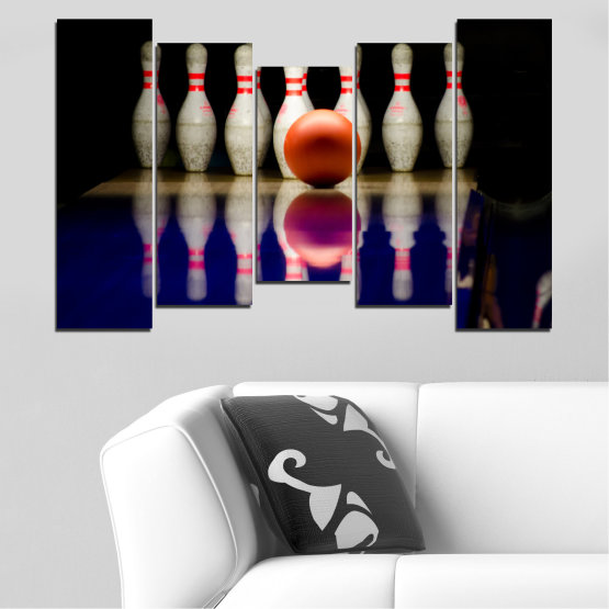 Canvas prints & wall decorative panels - 5 pieces №0534 » Brown, Black, Gray, Dark grey » Reflection, Sport, Ball, Bowling Form #4