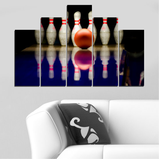 Canvas prints & wall decorative panels - 5 pieces №0534 » Brown, Black, Gray, Dark grey » Reflection, Sport, Ball, Bowling Form #5