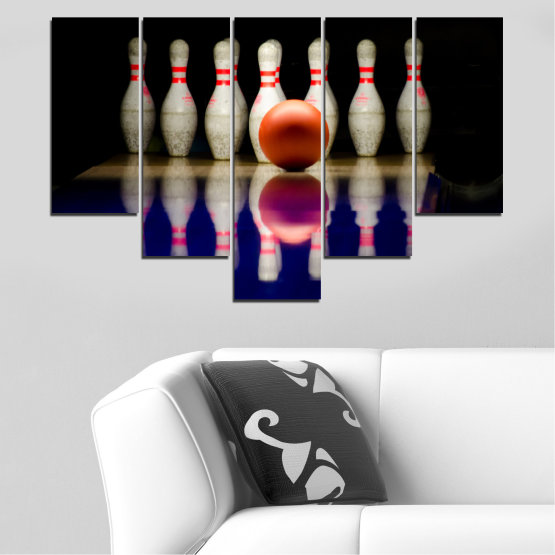 Canvas prints & wall decorative panels - 5 pieces №0534 » Brown, Black, Gray, Dark grey » Reflection, Sport, Ball, Bowling Form #6