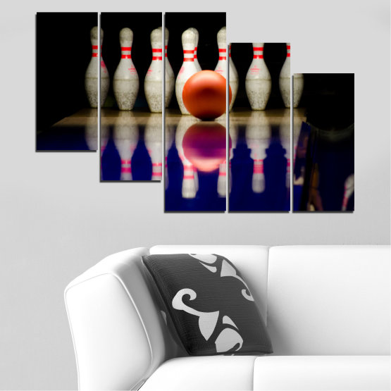Canvas prints & wall decorative panels - 5 pieces №0534 » Brown, Black, Gray, Dark grey » Reflection, Sport, Ball, Bowling Form #7