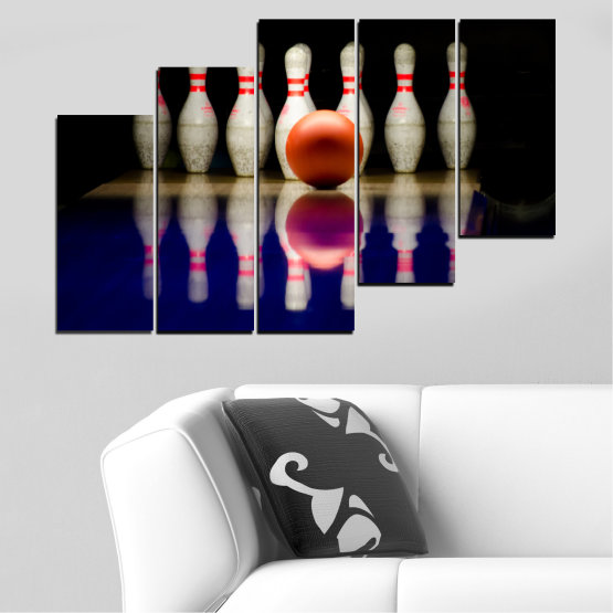 Canvas prints & wall decorative panels - 5 pieces №0534 » Brown, Black, Gray, Dark grey » Reflection, Sport, Ball, Bowling Form #8