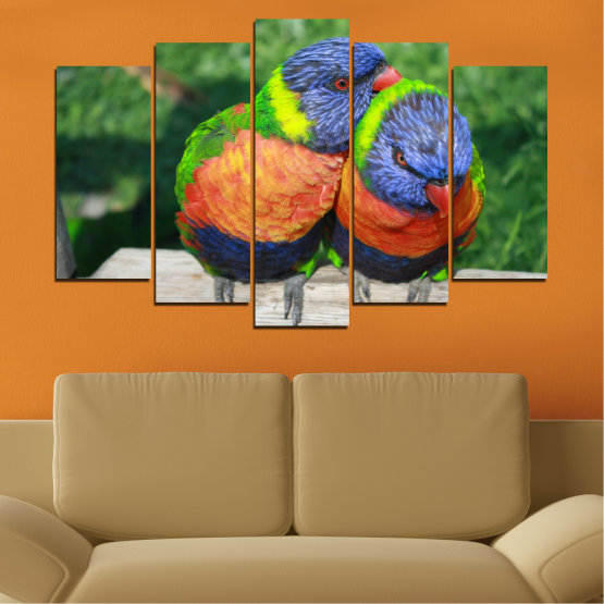 Εκτύπωση σε καμβά και διακοσμητικά πάνελ τοίχου - 5 τεμάχια №0535 » Πράσινος, Γκρί, Σκούρο γκρι » Πουλιά, Γραφικός, Παπαγάλος Form #1
