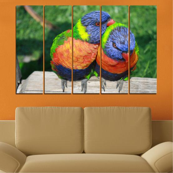 Εκτύπωση σε καμβά και διακοσμητικά πάνελ τοίχου - 5 τεμάχια №0535 » Πράσινος, Γκρί, Σκούρο γκρι » Πουλιά, Γραφικός, Παπαγάλος Form #2
