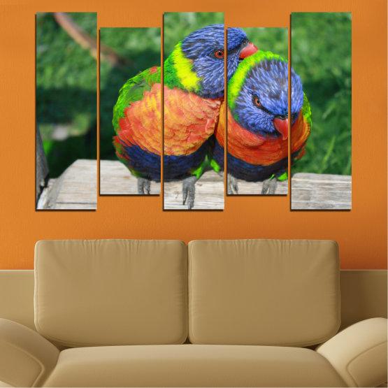 Εκτύπωση σε καμβά και διακοσμητικά πάνελ τοίχου - 5 τεμάχια №0535 » Πράσινος, Γκρί, Σκούρο γκρι » Πουλιά, Γραφικός, Παπαγάλος Form #3