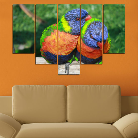 Εκτύπωση σε καμβά και διακοσμητικά πάνελ τοίχου - 5 τεμάχια №0535 » Πράσινος, Γκρί, Σκούρο γκρι » Πουλιά, Γραφικός, Παπαγάλος Form #6