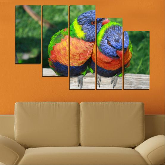 Εκτύπωση σε καμβά και διακοσμητικά πάνελ τοίχου - 5 τεμάχια №0535 » Πράσινος, Γκρί, Σκούρο γκρι » Πουλιά, Γραφικός, Παπαγάλος Form #7