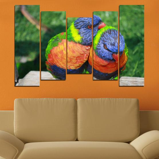 Εκτύπωση σε καμβά και διακοσμητικά πάνελ τοίχου - 5 τεμάχια №0535 » Πράσινος, Γκρί, Σκούρο γκρι » Πουλιά, Γραφικός, Παπαγάλος Form #4