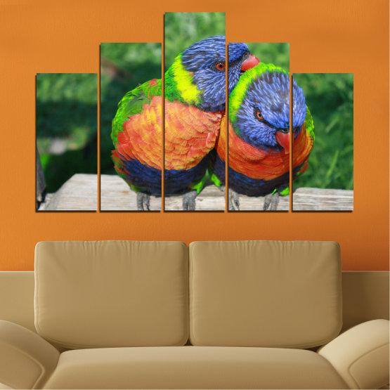 Εκτύπωση σε καμβά και διακοσμητικά πάνελ τοίχου - 5 τεμάχια №0535 » Πράσινος, Γκρί, Σκούρο γκρι » Πουλιά, Γραφικός, Παπαγάλος Form #5