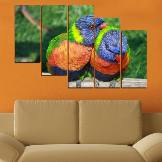 Εκτύπωση σε καμβά και διακοσμητικά πάνελ τοίχου - 5 τεμάχια №0535 » Πράσινος, Γκρί, Σκούρο γκρι » Πουλιά, Γραφικός, Παπαγάλος Form #8