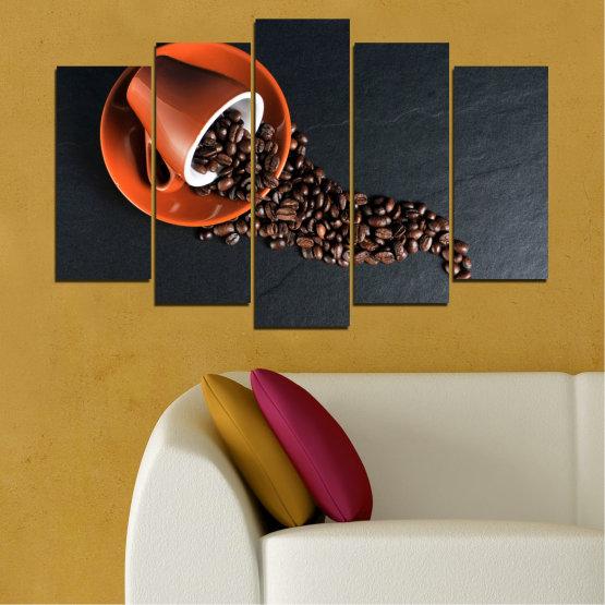 Декоративни панели и картини от канава - от 5 части №0536 » Оранжев, Кафяв, Черен, Тъмно сив » Кулинарен, Кафе, Напитка Form #1