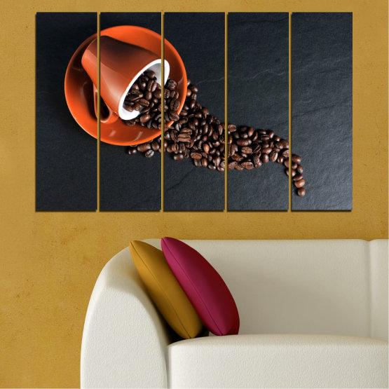 Декоративни панели и картини от канава - от 5 части №0536 » Оранжев, Кафяв, Черен, Тъмно сив » Кулинарен, Кафе, Напитка Form #2