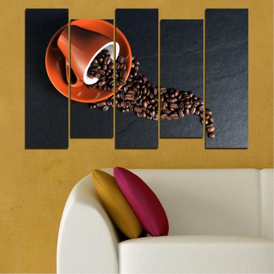 Декоративни панели и картини от канава - от 5 части №0536 » Оранжев, Кафяв, Черен, Тъмно сив » Кулинарен, Кафе, Напитка Form #3