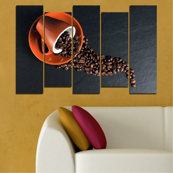 Canvas prints & wall decorative panels - 5 pieces №0536 » Orange, Brown, Black, Dark grey » Culinary, Coffee, Drink Form #3