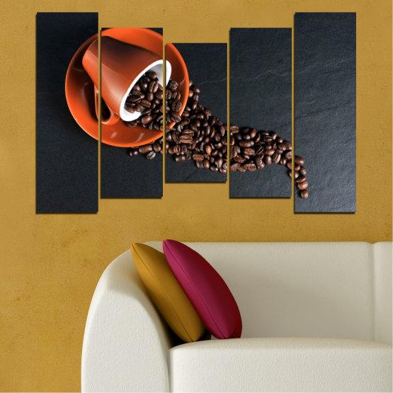 Декоративни панели и картини от канава - от 5 части №0536 » Оранжев, Кафяв, Черен, Тъмно сив » Кулинарен, Кафе, Напитка Form #4