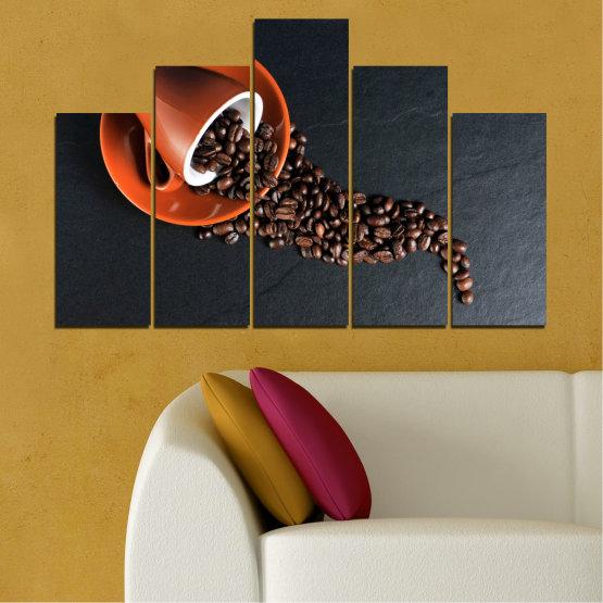 Декоративни панели и картини от канава - от 5 части №0536 » Оранжев, Кафяв, Черен, Тъмно сив » Кулинарен, Кафе, Напитка Form #5