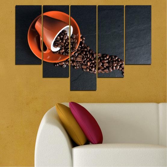 Декоративни панели и картини от канава - от 5 части №0536 » Оранжев, Кафяв, Черен, Тъмно сив » Кулинарен, Кафе, Напитка Form #6
