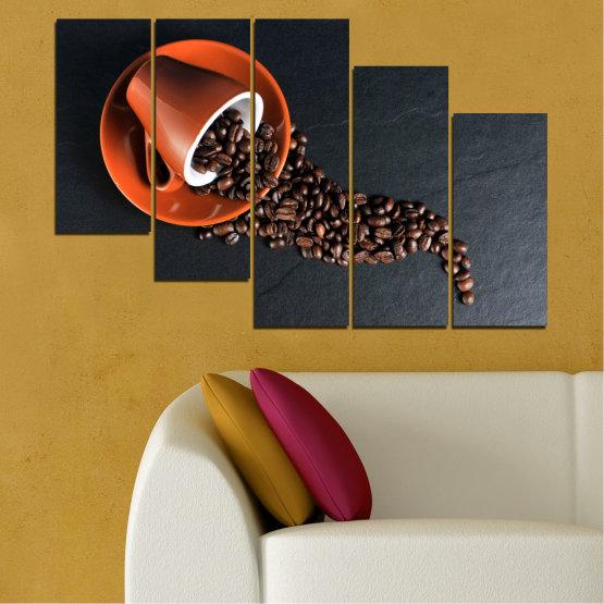 Декоративни панели и картини от канава - от 5 части №0536 » Оранжев, Кафяв, Черен, Тъмно сив » Кулинарен, Кафе, Напитка Form #7