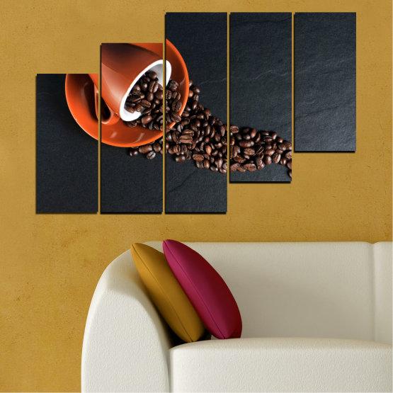 Canvas prints & wall decorative panels - 5 pieces №0536 » Orange, Brown, Black, Dark grey » Culinary, Coffee, Drink Form #8