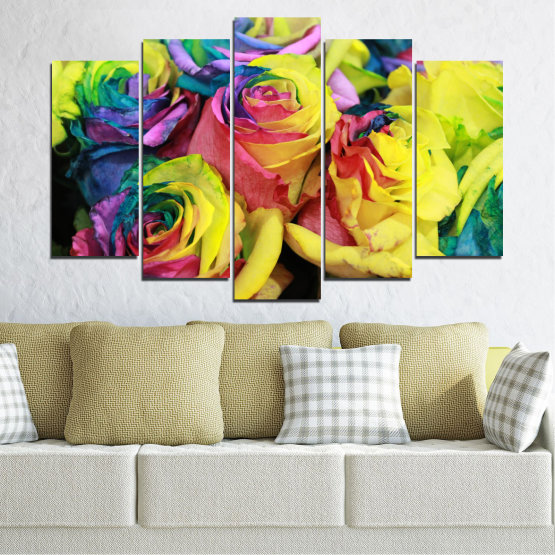 Canvas prints & wall decorative panels - 5 pieces №0537 » Red, Green, Yellow, Black, Dark grey » Flowers, Rose, Colorful Form #1