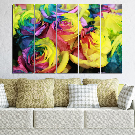 Canvas prints & wall decorative panels - 5 pieces №0537 » Red, Green, Yellow, Black, Dark grey » Flowers, Rose, Colorful Form #2