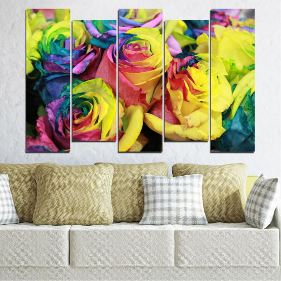 Canvas prints & wall decorative panels - 5 pieces №0537 » Red, Green, Yellow, Black, Dark grey » Flowers, Rose, Colorful Form #3