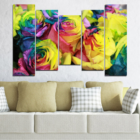 Canvas prints & wall decorative panels - 5 pieces №0537 » Red, Green, Yellow, Black, Dark grey » Flowers, Rose, Colorful Form #4