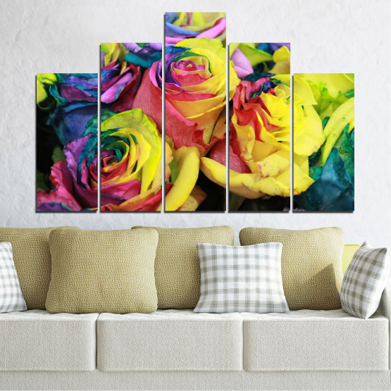 Canvas prints & wall decorative panels - 5 pieces №0537 » Red, Green, Yellow, Black, Dark grey » Flowers, Rose, Colorful Form #5