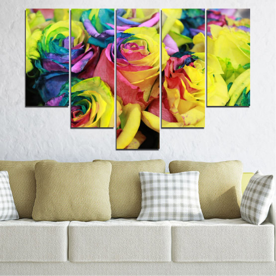 Canvas prints & wall decorative panels - 5 pieces №0537 » Red, Green, Yellow, Black, Dark grey » Flowers, Rose, Colorful Form #6