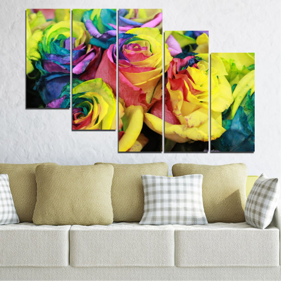 Canvas prints & wall decorative panels - 5 pieces №0537 » Red, Green, Yellow, Black, Dark grey » Flowers, Rose, Colorful Form #7