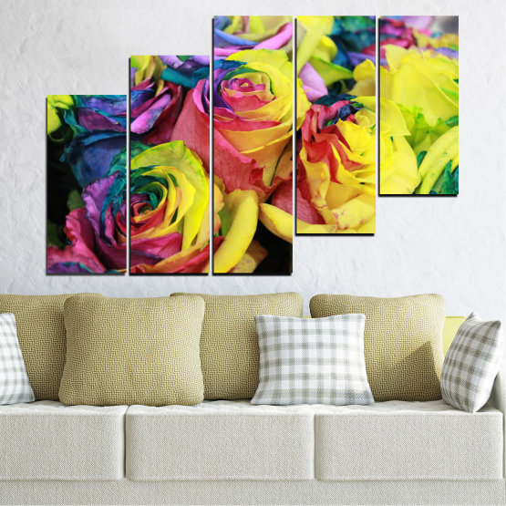 Canvas prints & wall decorative panels - 5 pieces №0537 » Red, Green, Yellow, Black, Dark grey » Flowers, Rose, Colorful Form #8