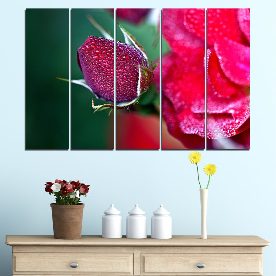 Canvas prints & wall decorative panels - 5 pieces №0539 » Red, Pink, Black, Dark grey » Flowers, Rose, Drops Form #2