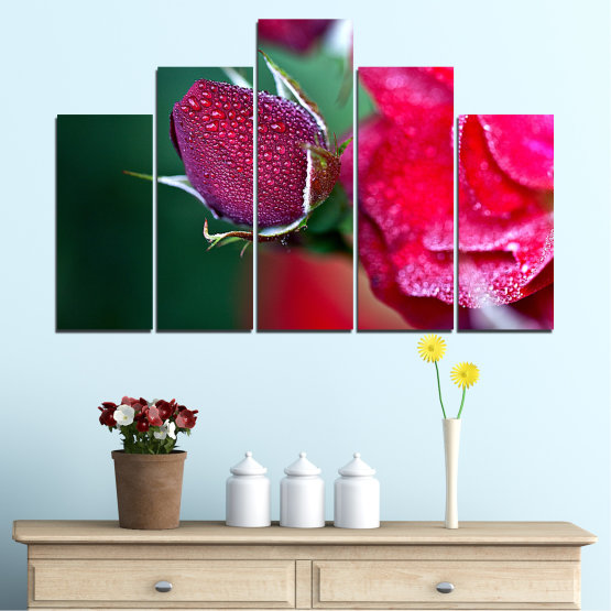 Canvas prints & wall decorative panels - 5 pieces №0539 » Red, Pink, Black, Dark grey » Flowers, Rose, Drops Form #5