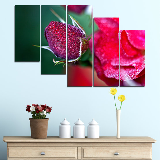 Canvas prints & wall decorative panels - 5 pieces №0539 » Red, Pink, Black, Dark grey » Flowers, Rose, Drops Form #7