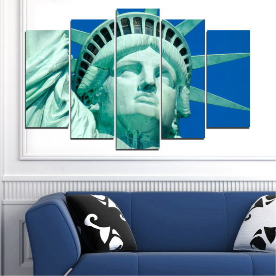 Canvas prints & wall decorative panels - 5 pieces №0540 » Blue, Turquoise, Gray, Dark grey » Landmark, New york, Statue of liberty, Usa Form #1