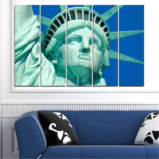 Canvas prints & wall decorative panels - 5 pieces №0540 » Blue, Turquoise, Gray, Dark grey » Landmark, New york, Statue of liberty, Usa Form #2