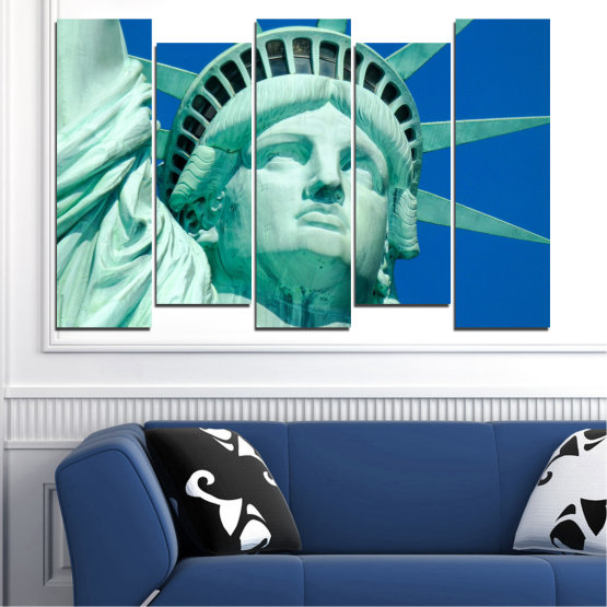 Canvas prints & wall decorative panels - 5 pieces №0540 » Blue, Turquoise, Gray, Dark grey » Landmark, New york, Statue of liberty, Usa Form #3