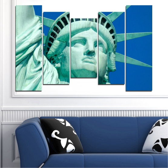 Canvas prints & wall decorative panels - 5 pieces №0540 » Blue, Turquoise, Gray, Dark grey » Landmark, New york, Statue of liberty, Usa Form #4